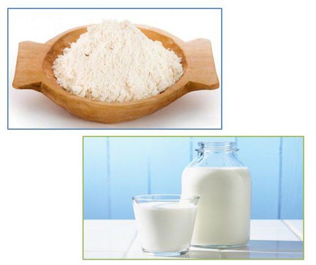 Pha kem lột trắng da bằng bột gạo và sữa tươi